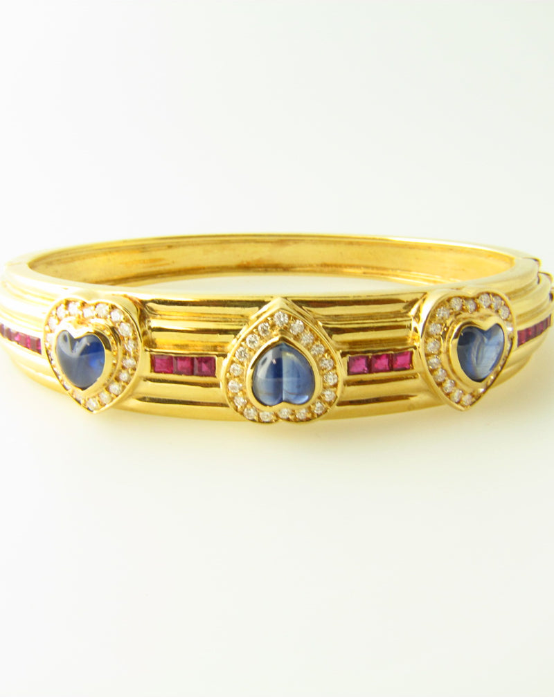 18K Yellow Gold, Sapphire, Diamond, and Ruby Bracelet | 18 Karat Appraisers | Beverly Hills, CA | Fine Jewelry