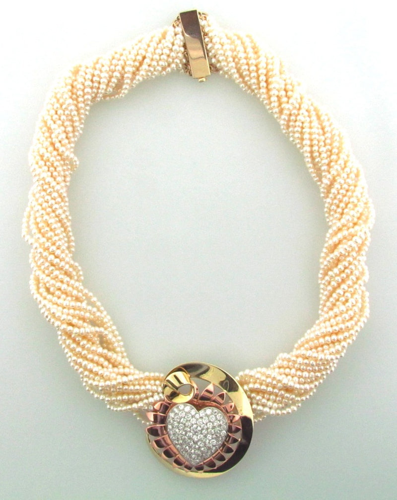 Retro 14K Yellow Gold, Rose Gold, and Platinum Diamond Pearl Necklace | 18 Karat Appraisers | Beverly Hills, CA | Fine Jewelry