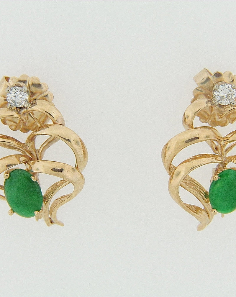 14K YELLOW GOLD JADE AND DIAMOND EARRINGS | 18 Karat Appraisers | Beverly Hills, CA | Fine Jewelry