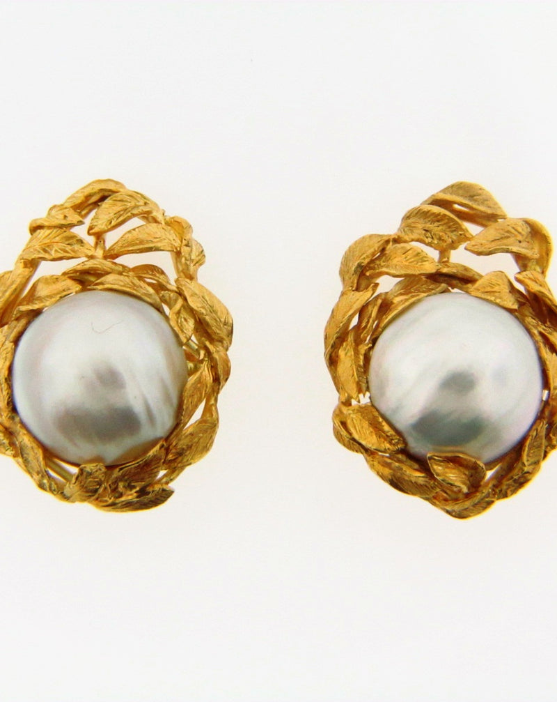 18K Yellow Gold Mabe Pearl Earrings | 18 Karat Appraisers | Beverly Hills, CA | Fine Jewelry