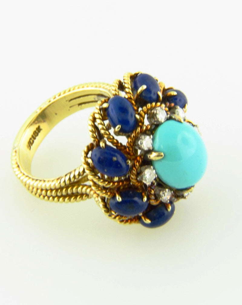 18K Yellow Gold, Turquoise, Lapis Lazuli, and Diamond Ring