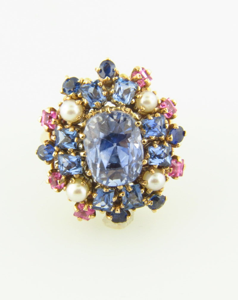 14K Yellow Gold, Sapphire and Pearl Cluster Ring
