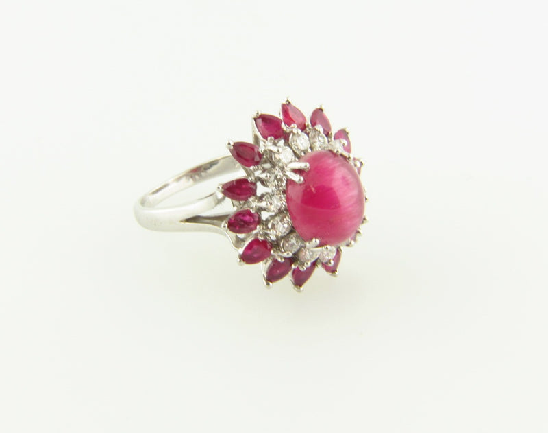 18K White Gold, Cat's Eye Tourmaline, Ruby, and Diamond Ring | 18 Karat Appraisers | Beverly Hills, CA | Fine Jewelry