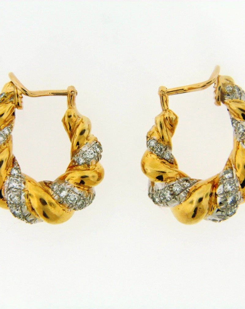 18K Yellow Gold and White gold Diamond Earrings | 18 Karat Appraisers | Beverly Hills, CA | Fine Jewelry