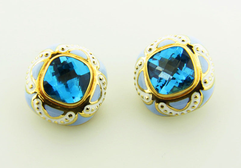 14K Yellow Gold, Blue Topaz and Enamel Earrings | 18 Karat Appraisers | Beverly Hills, CA | Fine Jewelry