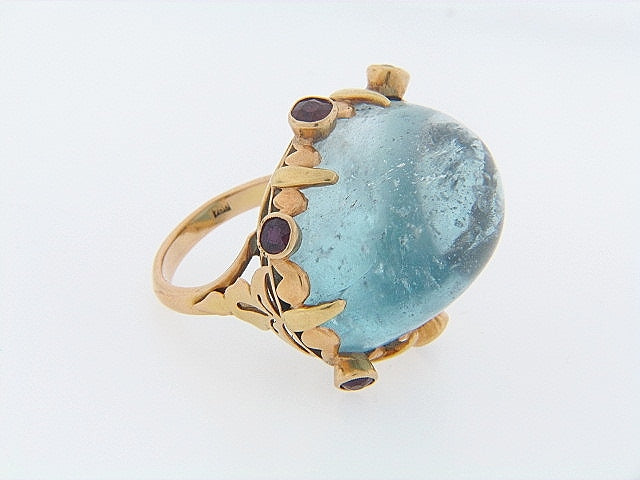 18K-YG BLUE TOPAZ AND GARNET RING