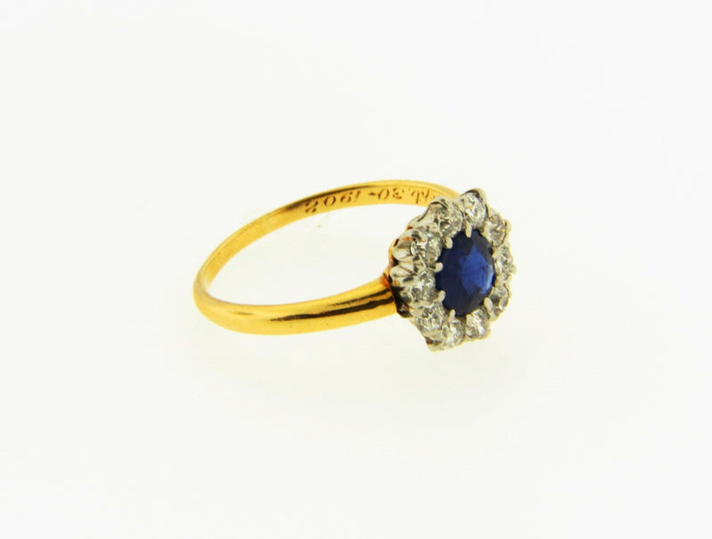Edwardian 18K Yellow and White Gold, Sapphire and Diamond Ring