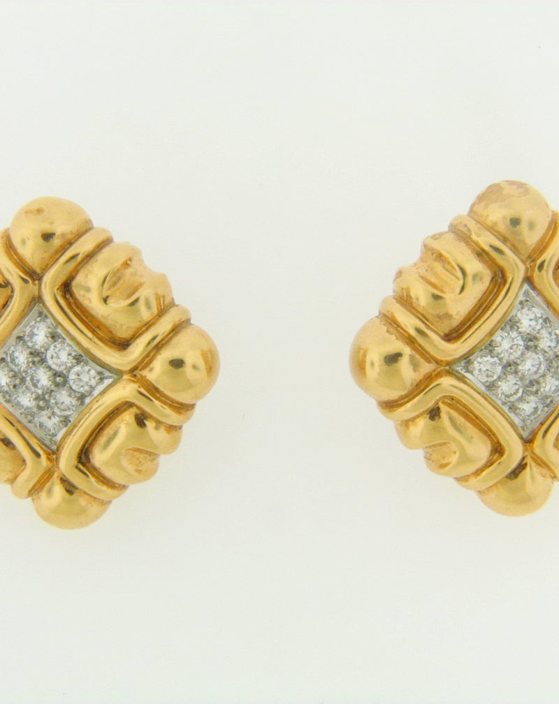 18K YELLOW GOLD DIAMOND EARCLIPS | 18 Karat Appraisers | Beverly Hills, CA | Fine Jewelry