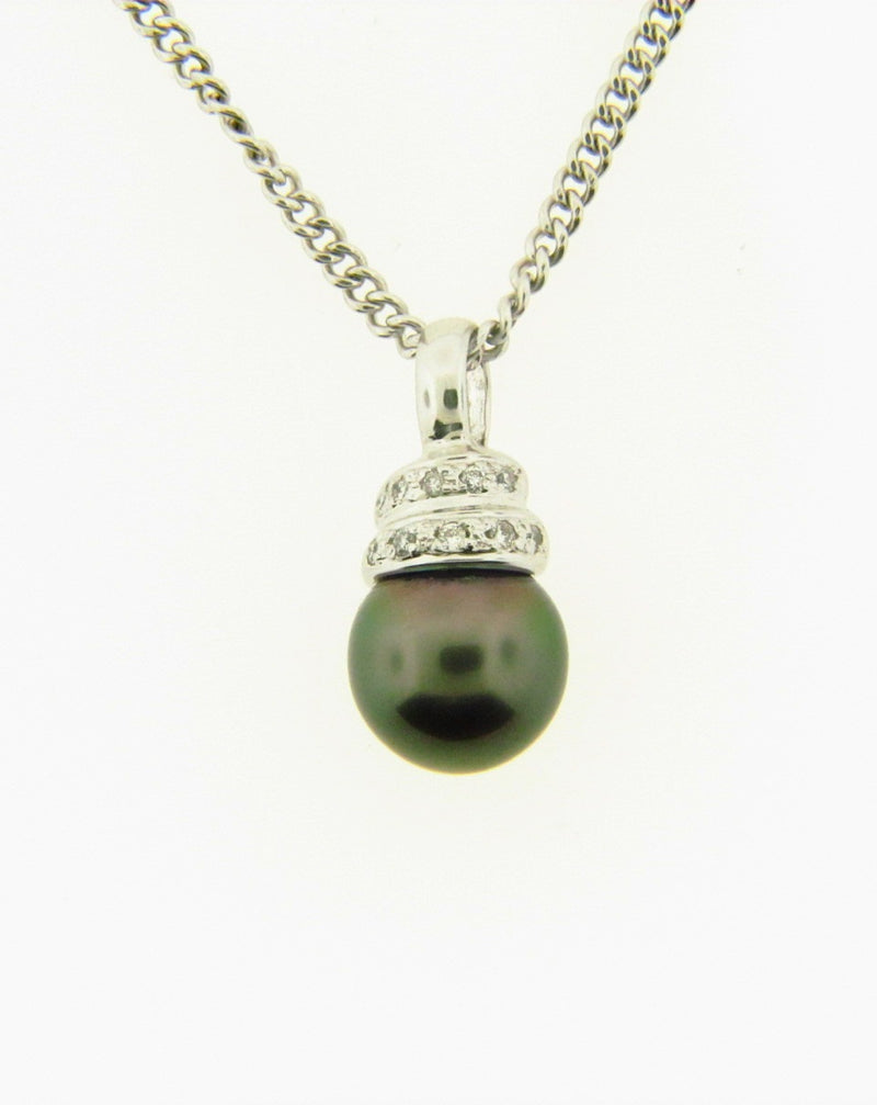 14K White Gold, Black Tahitian Pearl Pendant | 18 Karat Appraisers | Beverly Hills, CA | Fine Jewelry
