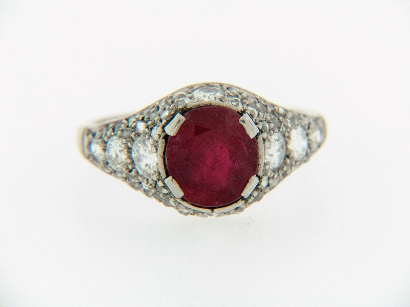PLATINUM BURMESE RUBY AND DIAMOND RING | 18 Karat Appraisers | Beverly Hills, CA | Fine Jewelry