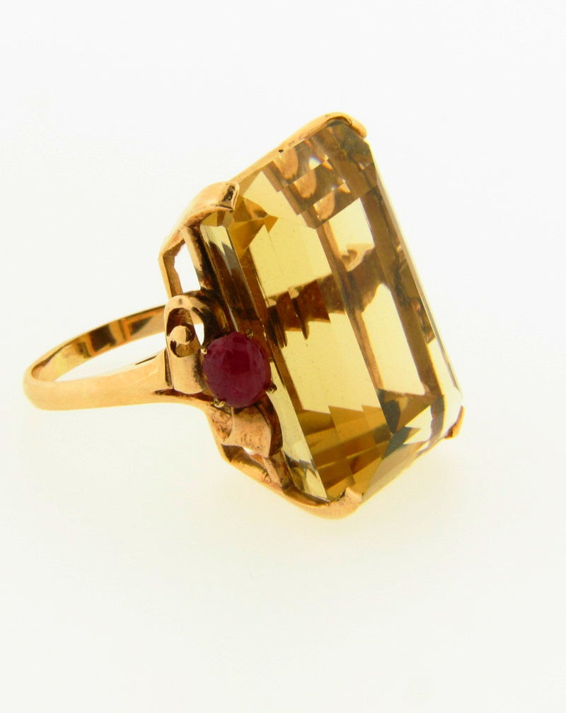 Retro 14K Rose Gold, Citrine and Ruby Ring | 18 Karat Appraisers | Beverly Hills, CA | Fine Jewelry