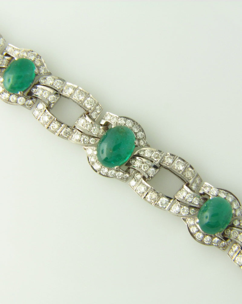 Art Deco, 18K White Gold Emerald and Diamond Bracelet
