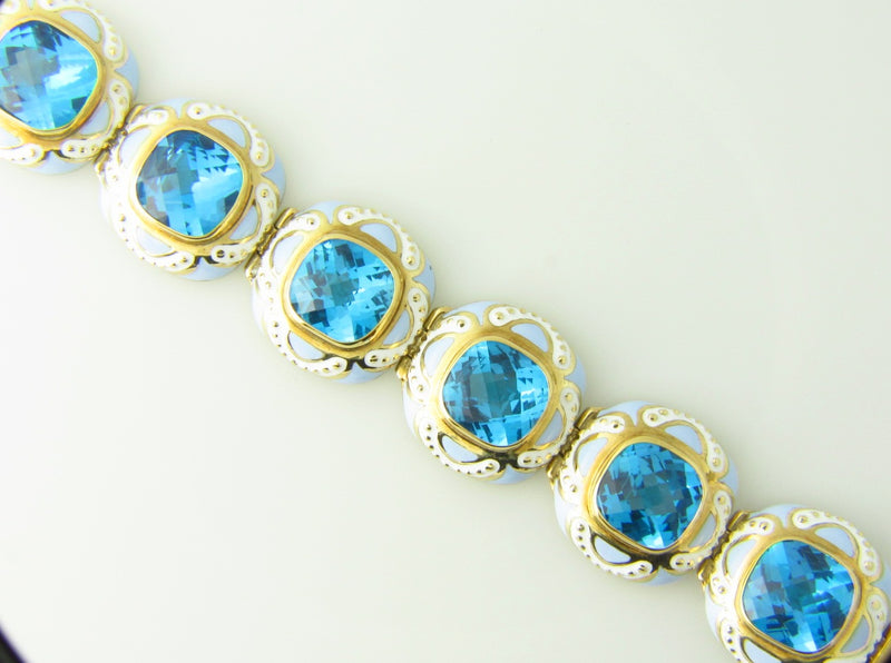 14K Yellow Gold, Blue Topaz and Enamel Bracelet | 18 Karat Appraisers | Beverly Hills, CA | Fine Jewelry