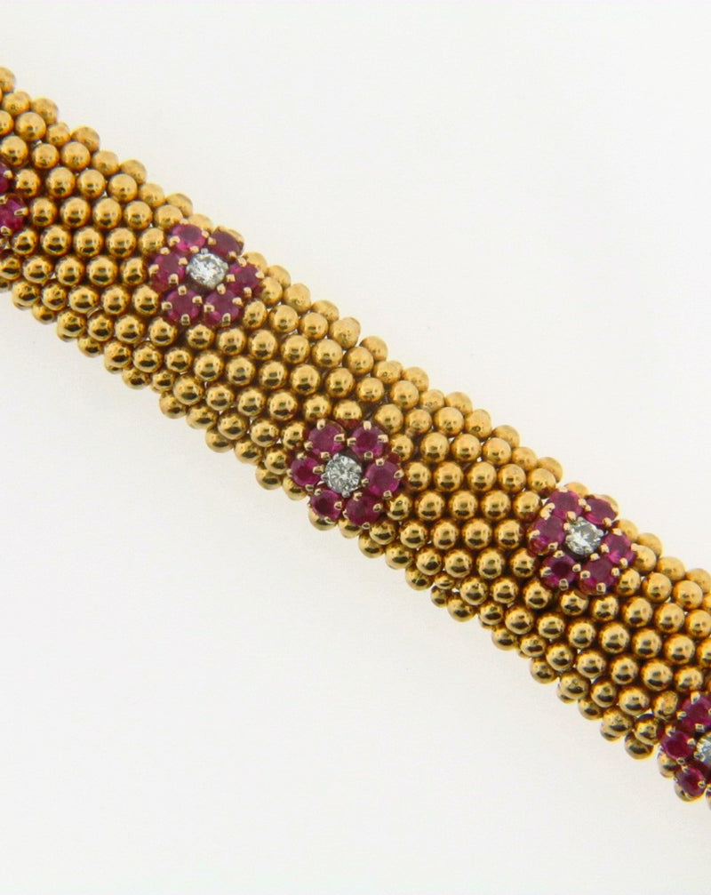 18K Yellow Gold Diamond and Ruby Bracelet | 18 Karat Appraisers | Beverly Hills, CA | Fine Jewelry
