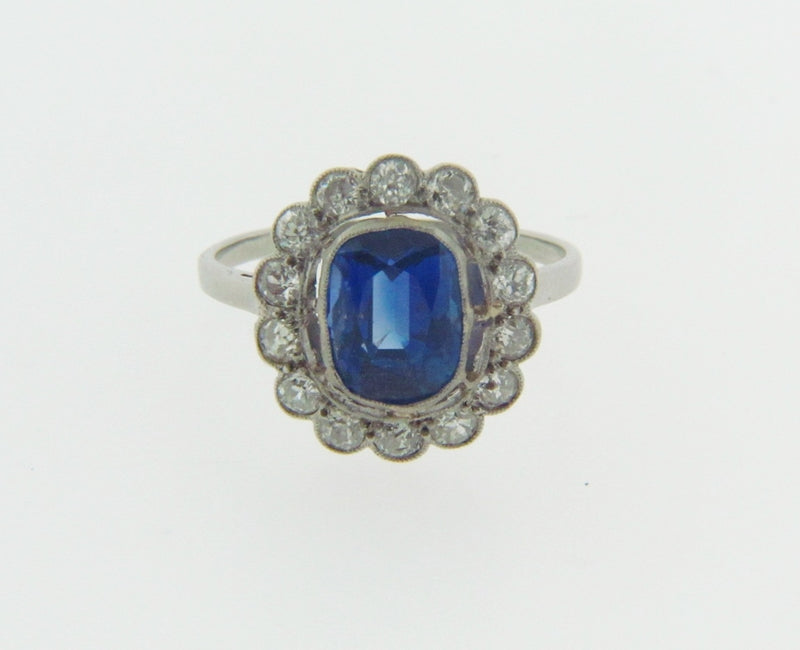 PLATINUM SAPPHIRE AND DIAMOND RING | 18 Karat Appraisers | Beverly Hills, CA | Fine Jewelry