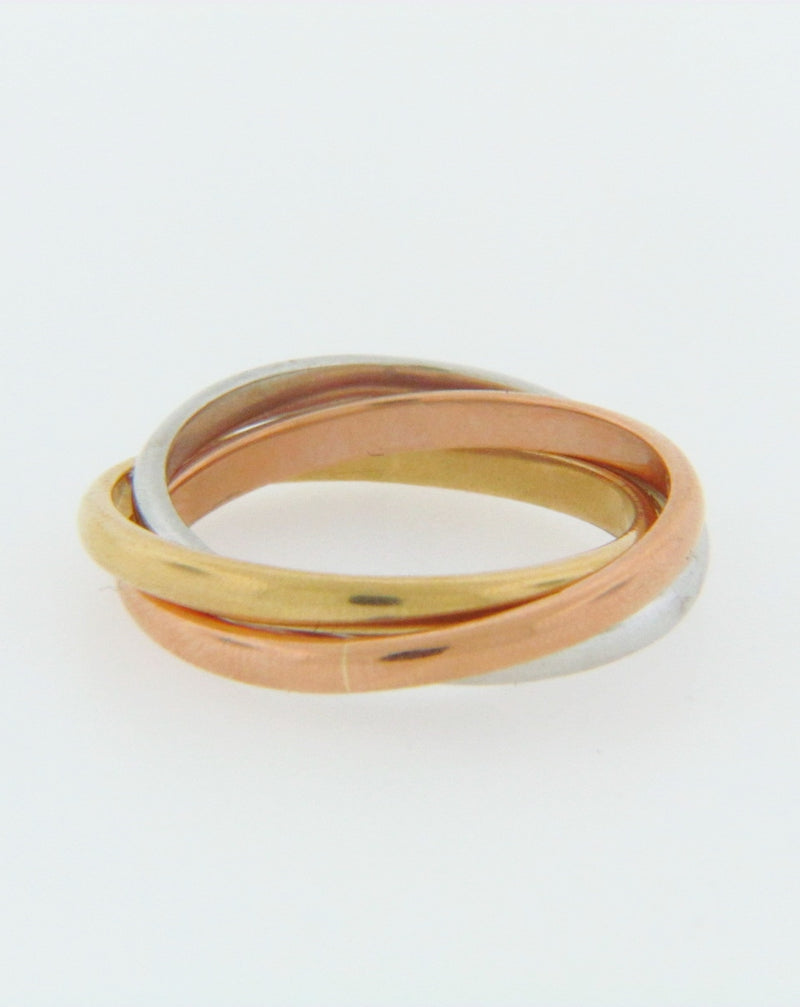 18K-TRI-GOLD TRIPLE BAND, ROLLING RING