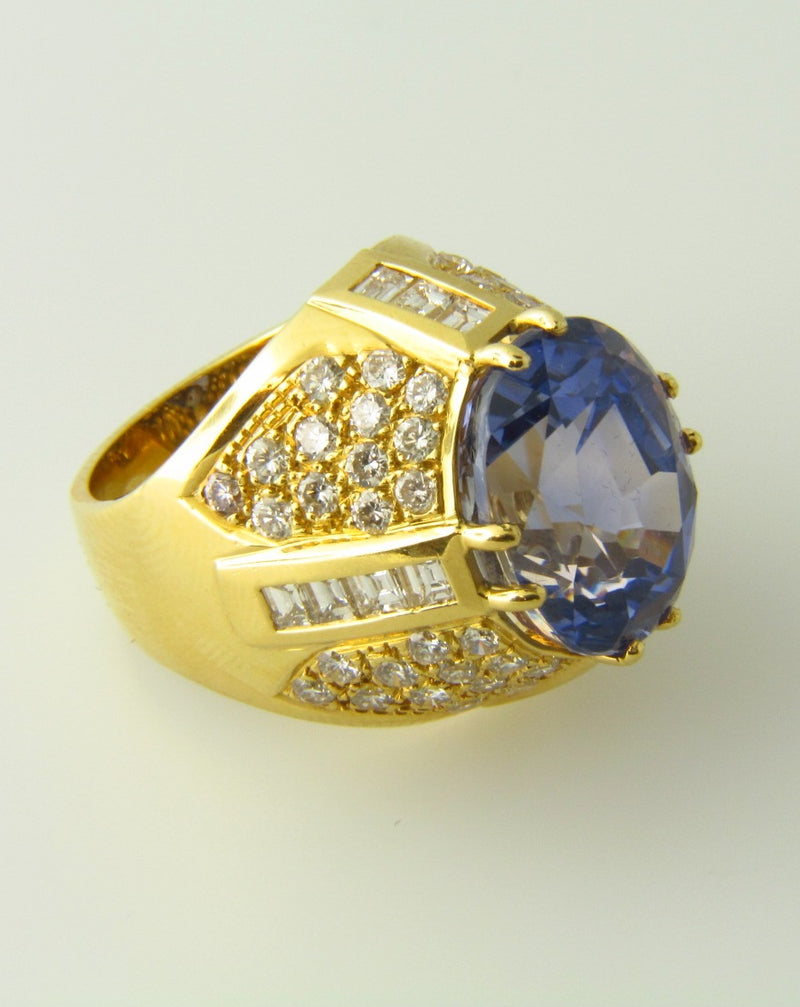18K Yellow Gold, Sapphire and Diamond Ring | 18 Karat Appraisers | Beverly Hills, CA | Fine Jewelry
