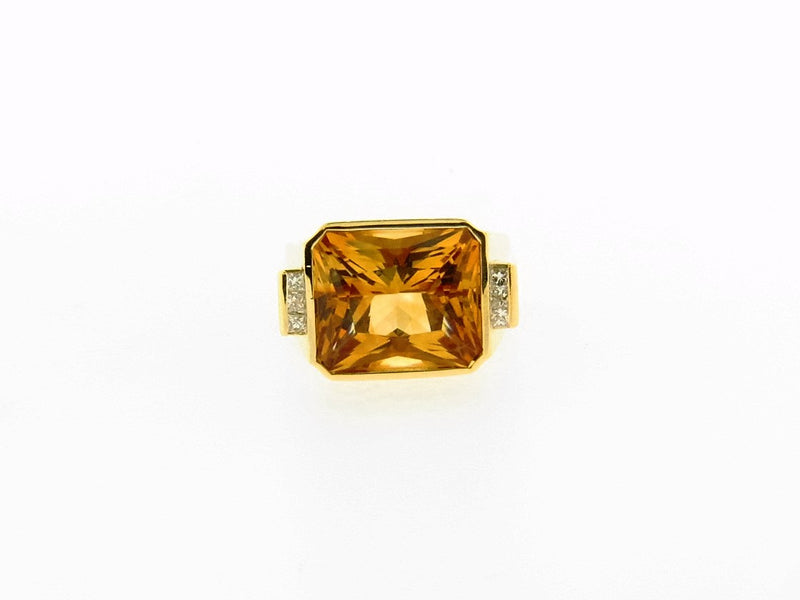 18K Yellow Gold Citrine and Diamond Ring | 18 Karat Appraisers | Beverly Hills, CA | Fine Jewelry
