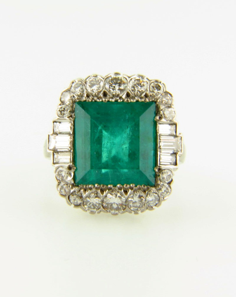 Retro Platinum, Emerald and Diamond Ring | 18 Karat Appraisers | Beverly Hills, CA | Fine Jewelry