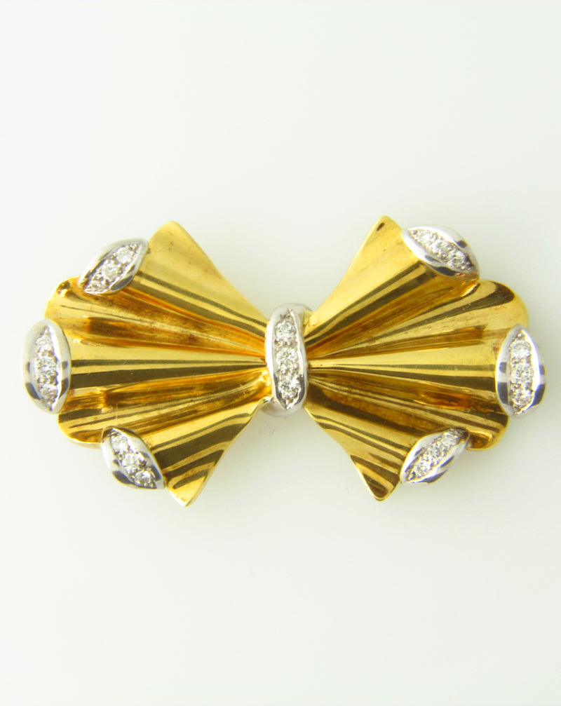 Retro 18K-YG+WG Diamond Bow Brooch | 18 Karat Appraisers | Beverly Hills, CA | Fine Jewelry