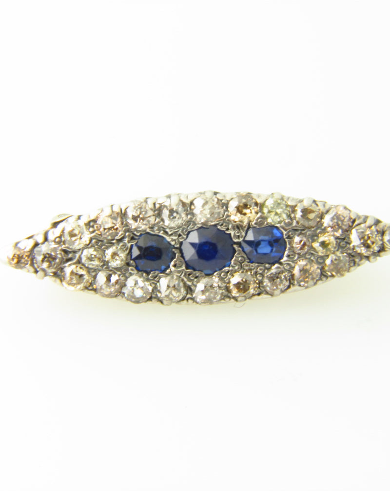 Victorian, Silver Topped and Gold, Sapphire and Diamond Brooch | 18 Karat Appraisers | Beverly Hills, CA | Fine Jewelry