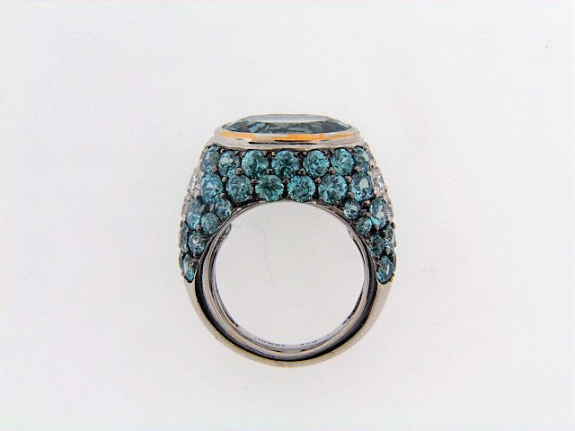 18K-WG AQUAMARINE, BLUE ZIRCON AND DIAMOND RING