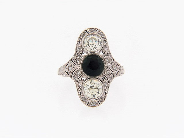 PLATINUM DIAMOND AND ONYX FILIGREE RING | 18 Karat Appraisers | Beverly Hills, CA | Fine Jewelry