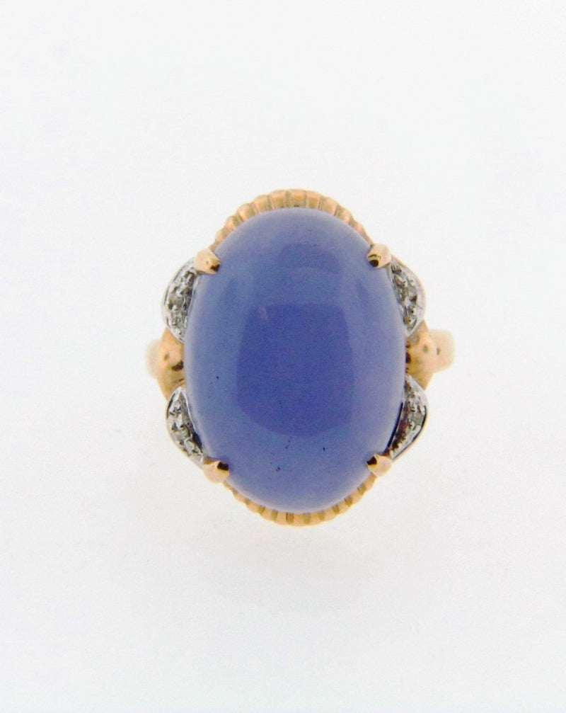 14K Yellow Gold Lavender Jade and Diamond Ring | 18 Karat Appraisers | Beverly Hills, CA | Fine Jewelry