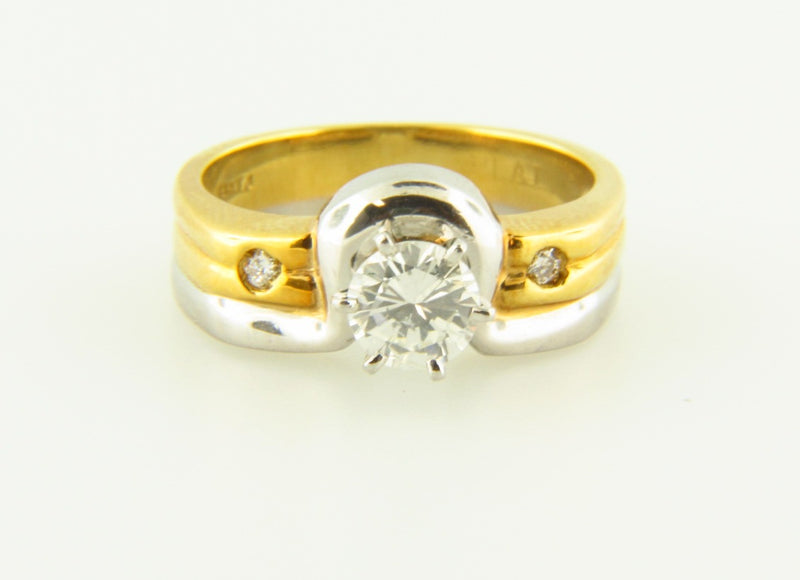 Platinum and 18K Yellow Gold, Diamond Solitaire Ring | 18 Karat Appraisers | Beverly Hills, CA | Fine Jewelry