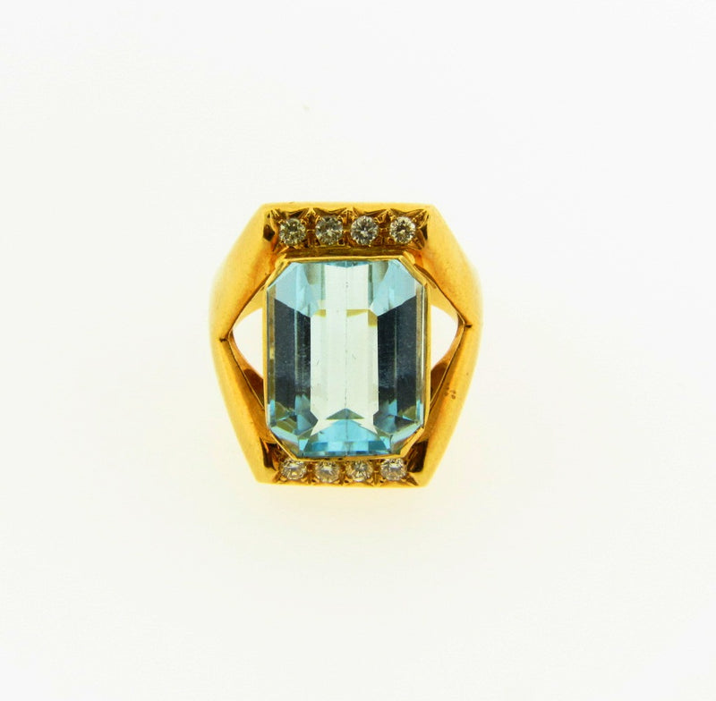 18K Yellow Gold, Aquamarine and Diamond Ring | 18 Karat Appraisers | Beverly Hills, CA | Fine Jewelry