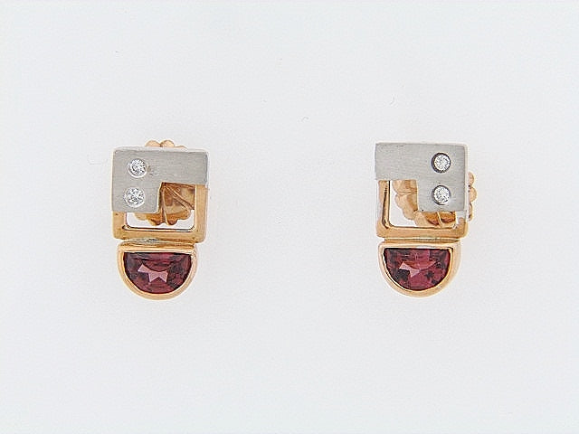 14K-GOLD DIAMOND AND RUBELLITE EARRINGS | 18 Karat Appraisers | Beverly Hills, CA | Fine Jewelry