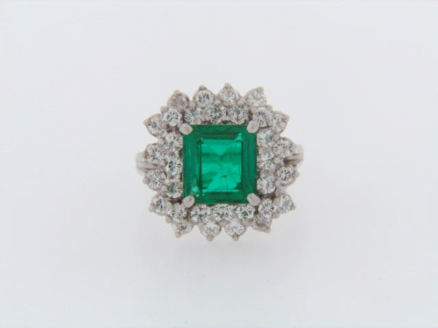 PLATINUM COLOMBIAN EMERALD AND DIAMOND RING | 18 Karat Appraisers | Beverly Hills, CA | Fine Jewelry