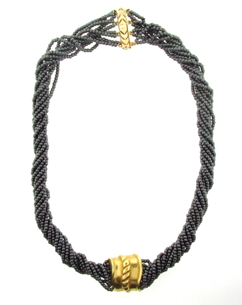18K and 14K Yellow Gold Hematite Necklace | 18 Karat Appraisers | Beverly Hills, CA | Fine Jewelry