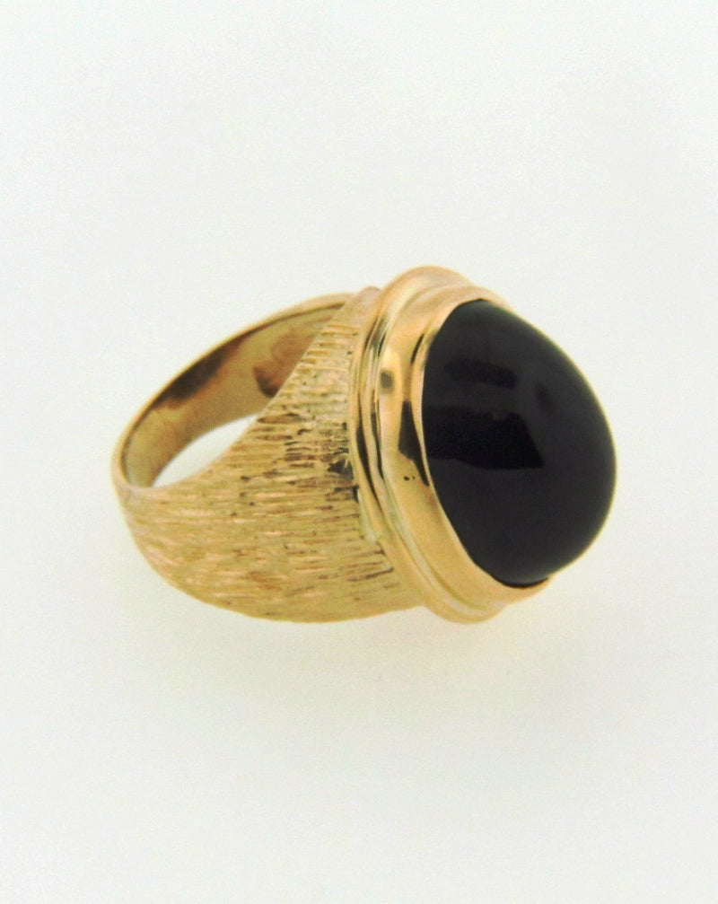 14K Yellow Gold Black Sapphire Ring | 18 Karat Appraisers | Beverly Hills, CA | Fine Jewelry