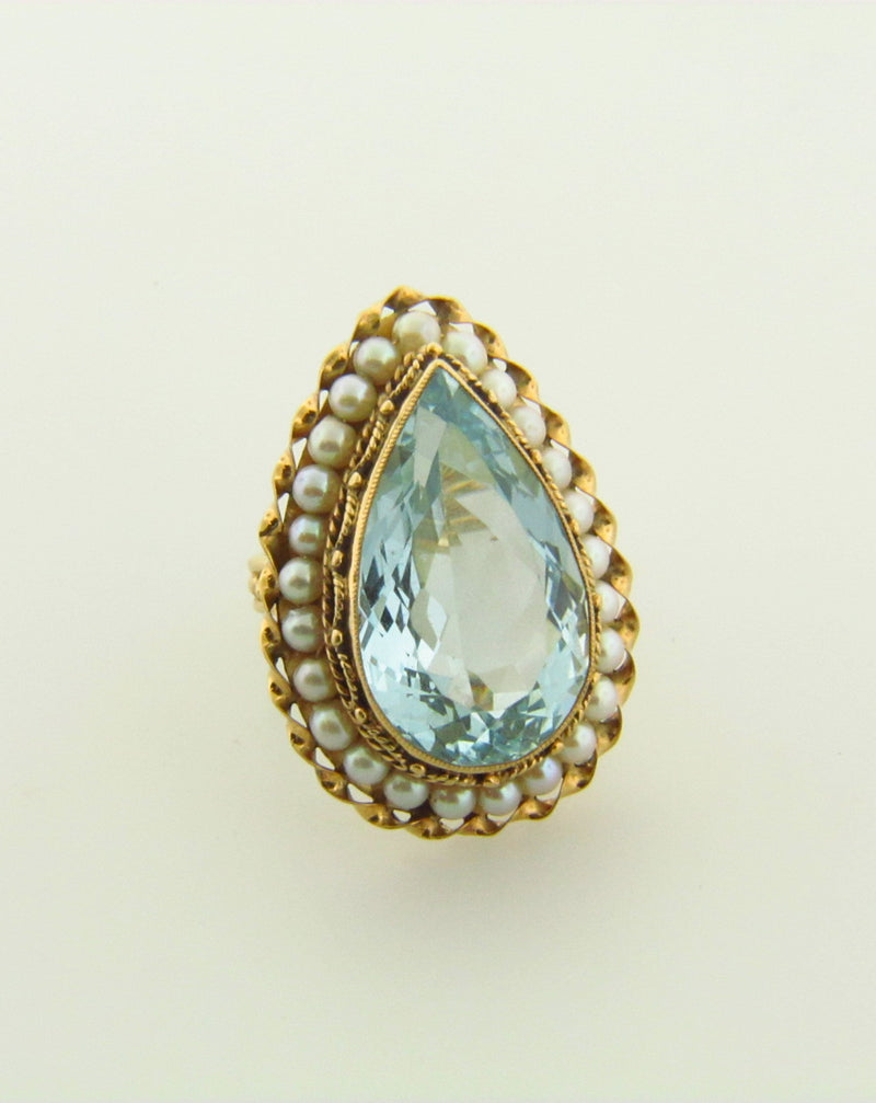 14K Yellow Gold Aquamarine and Pearl Ring | 18 Karat Appraisers | Beverly Hills, CA | Fine Jewelry