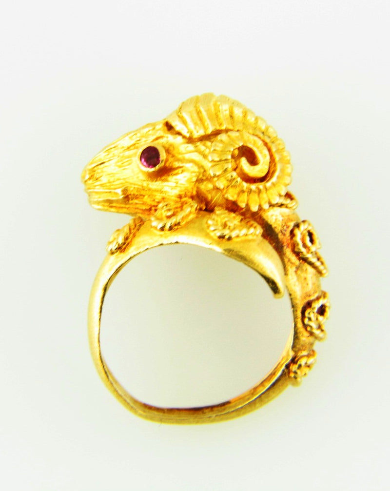 18K-YG Ram's Head Ring by Zolotas