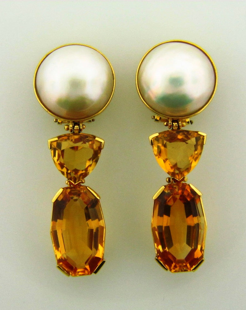 18K Yellow Gold Citrine and Mabe Pearl Earrings | 18 Karat Appraisers | Beverly Hills, CA | Fine Jewelry