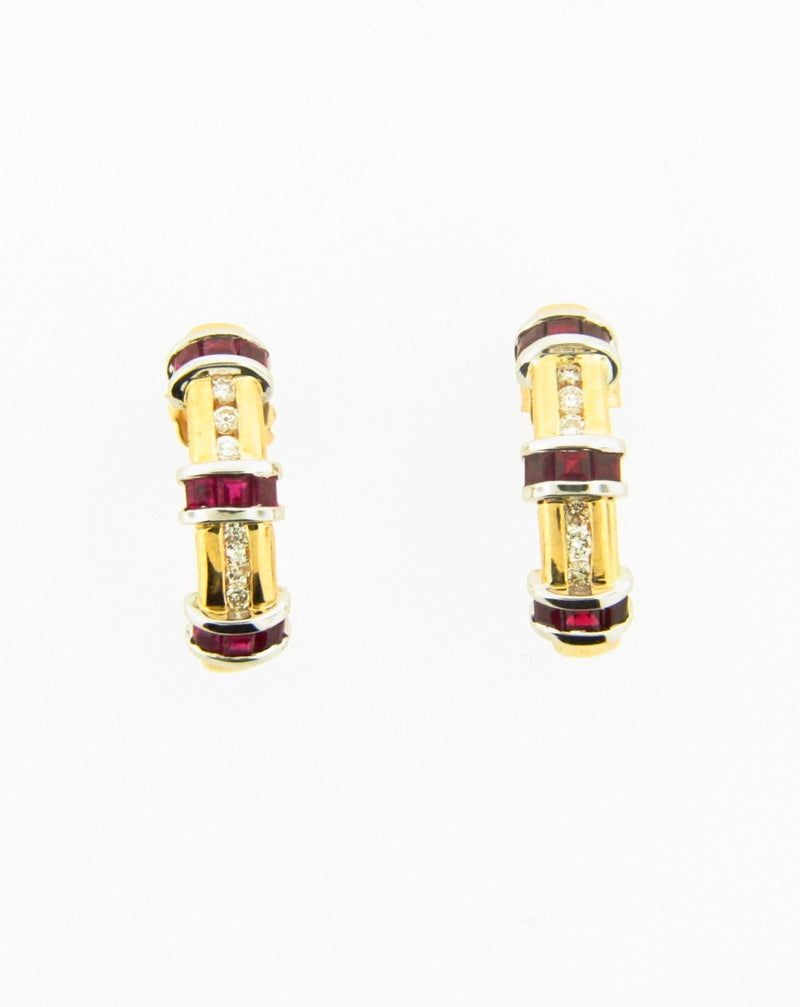 14K Yellow and White Gold, Ruby and Diamond Hoop Earrings | 18 Karat Appraisers | Beverly Hills, CA | Fine Jewelry