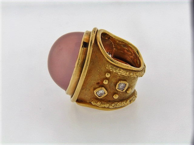 18K-YG ROSE QUARTZ AND DIAMOND RING
