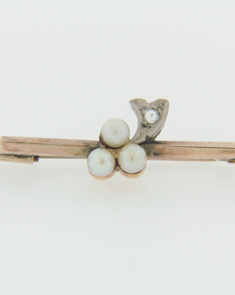 10K YELLOW GOLD PEARL AND DIAMOND PIN | 18 Karat Appraisers | Beverly Hills, CA | Fine Jewelry