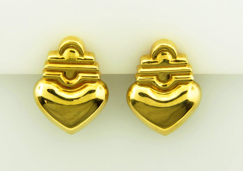 18K Yellow Gold Heart Motif Earclips | 18 Karat Appraisers | Beverly Hills, CA | Fine Jewelry