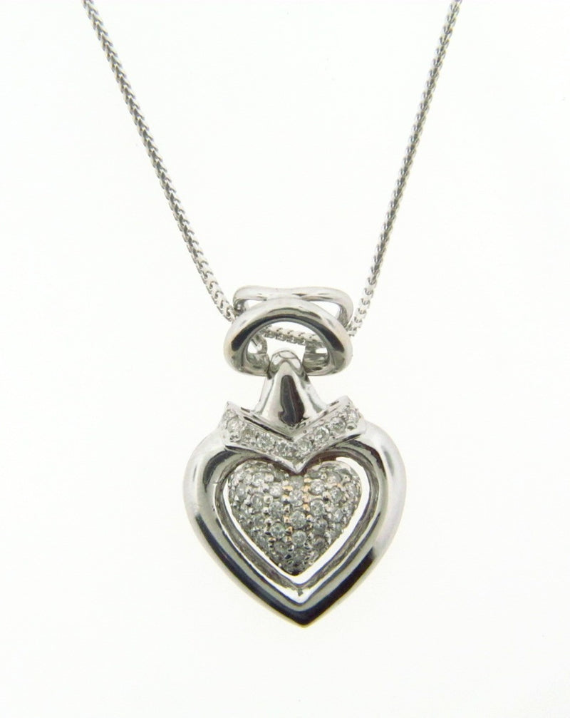 14K White Gold Diamond Heart Pendant | 18 Karat Appraisers | Beverly Hills, CA | Fine Jewelry