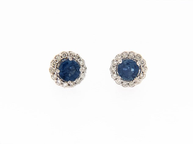 14K-WG SAPPHIRE AND DIAMOND STUD EARRINGS