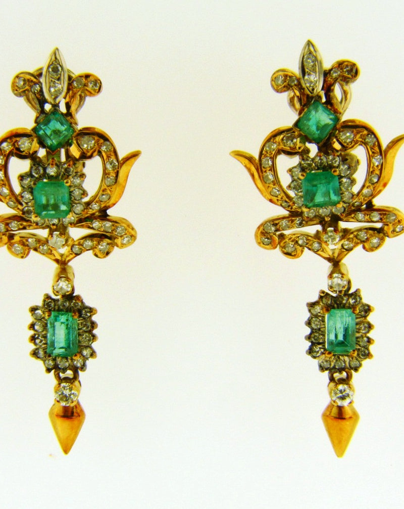 Victorian style 18K Yellow Gold, Emerald and Diamond Earrings | 18 Karat Appraisers | Beverly Hills, CA | Fine Jewelry