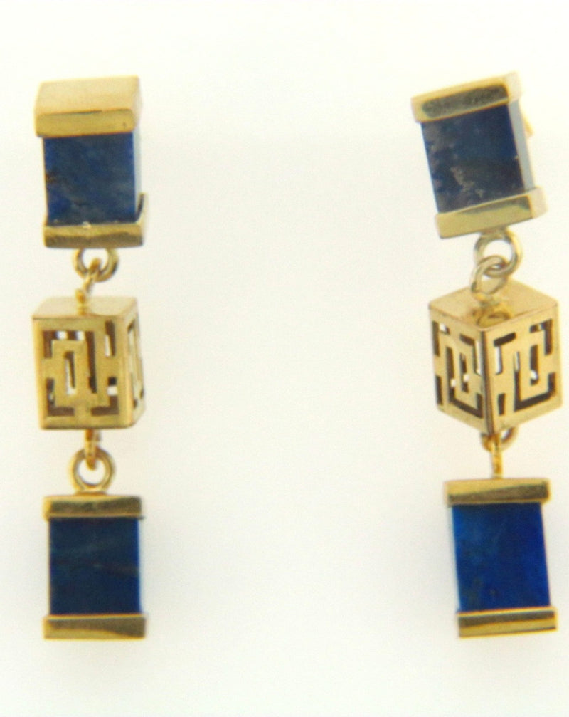 14K Yellow Gold Sodalite Dangling Earrings | 18 Karat Appraisers | Beverly Hills, CA | Fine Jewelry
