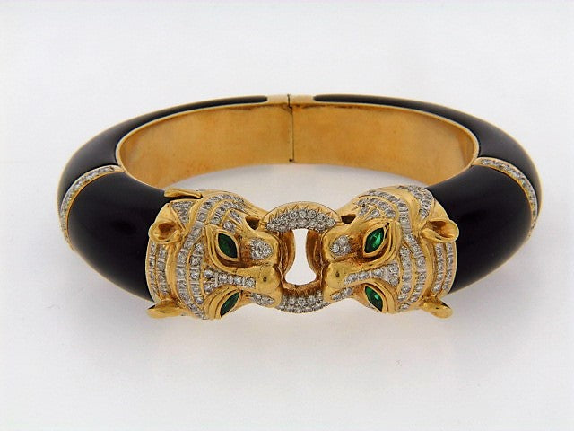 18K-YG DOUBLE LION'S HEAD BANGLE