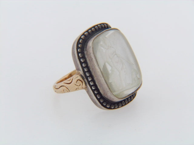 14K-YG AND SILVER INTAGLIO RING