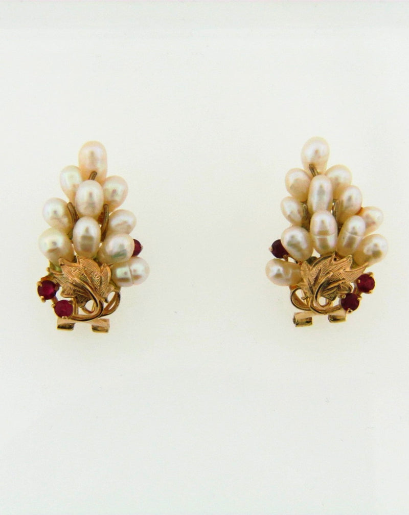14K Yellow Gold Pearl and Ruby Earrings | 18 Karat Appraisers | Beverly Hills, CA | Fine Jewelry