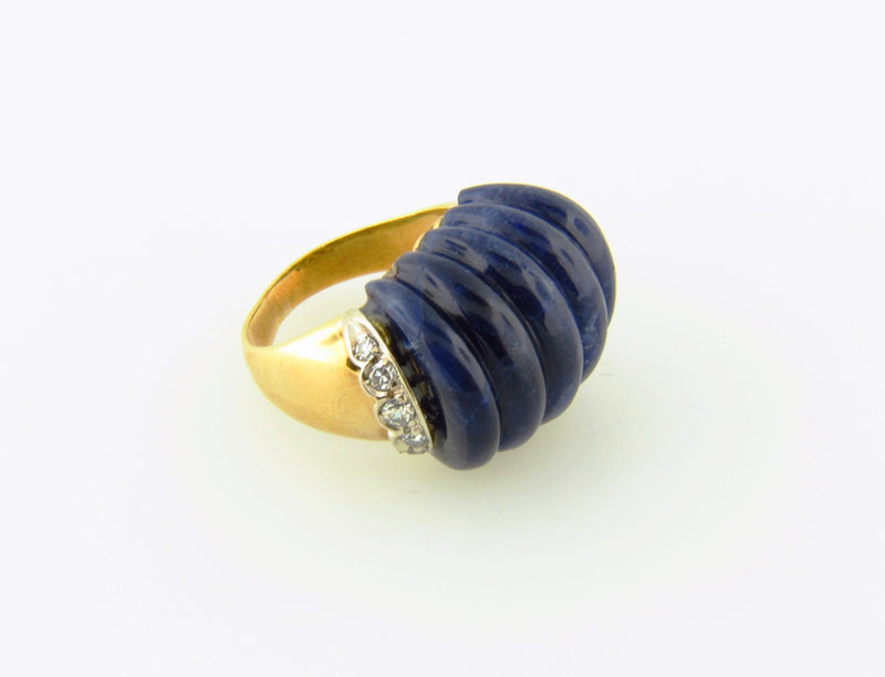 18K Yellow Gold, Lapis Lazuli and Diamond Ring | 18 Karat Appraisers | Beverly Hills, CA | Fine Jewelry