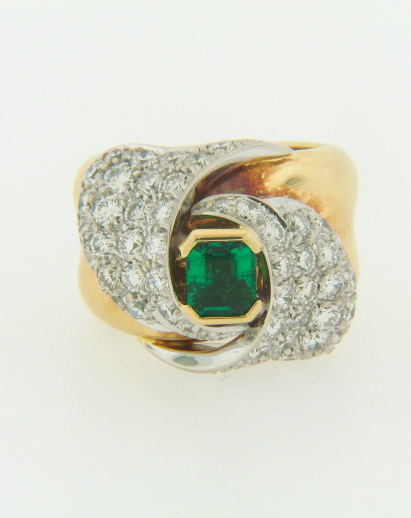 18K YELLOW GOLD EMERALD AND DIAMOND RING | 18 Karat Appraisers | Beverly Hills, CA | Fine Jewelry